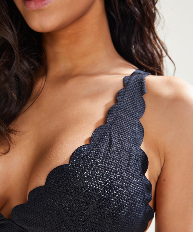 Scallop triangle bikini top, Black, main