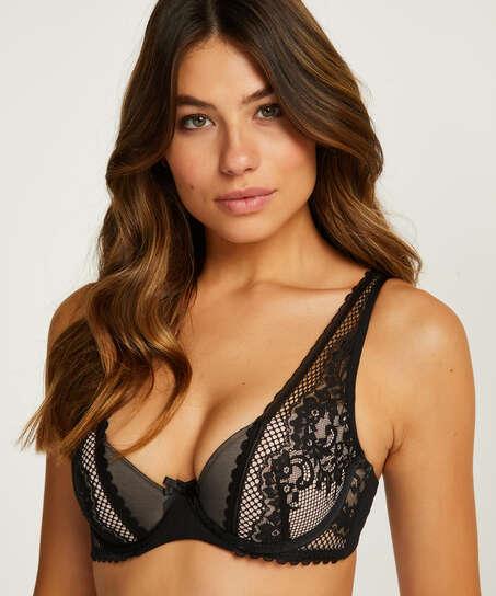 Malika half padded cup underwired bra, Black