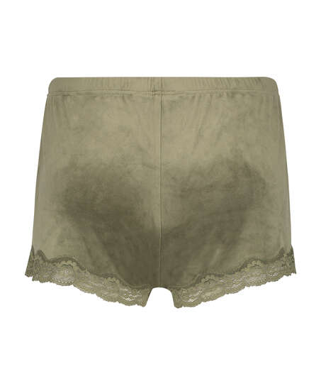 Velvet lace shorts, Green