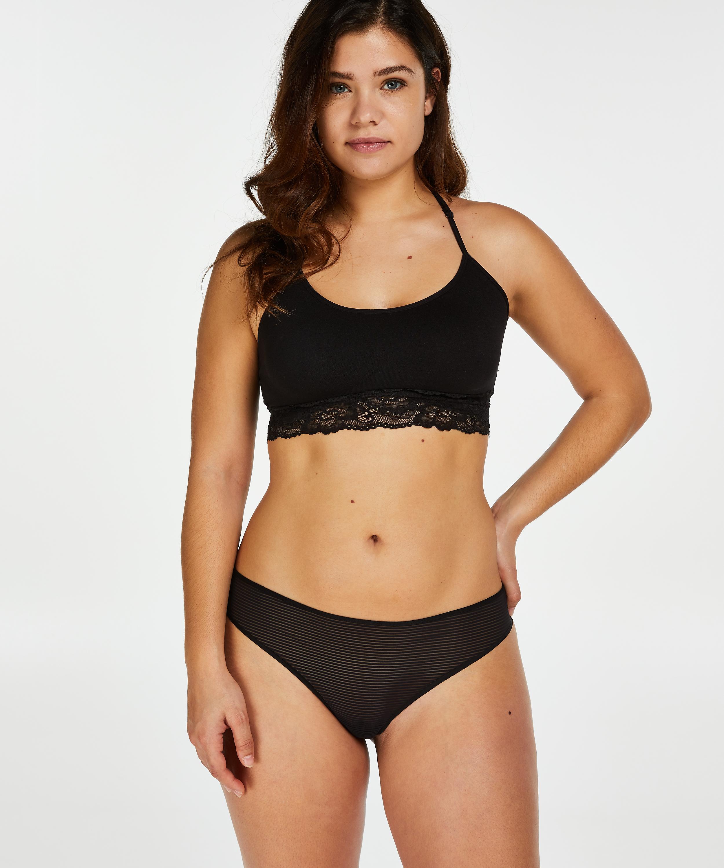 Invisible thong Stripe mesh , Black, main