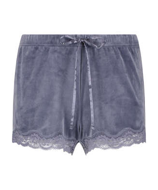 Velvet lace shorts, Grey