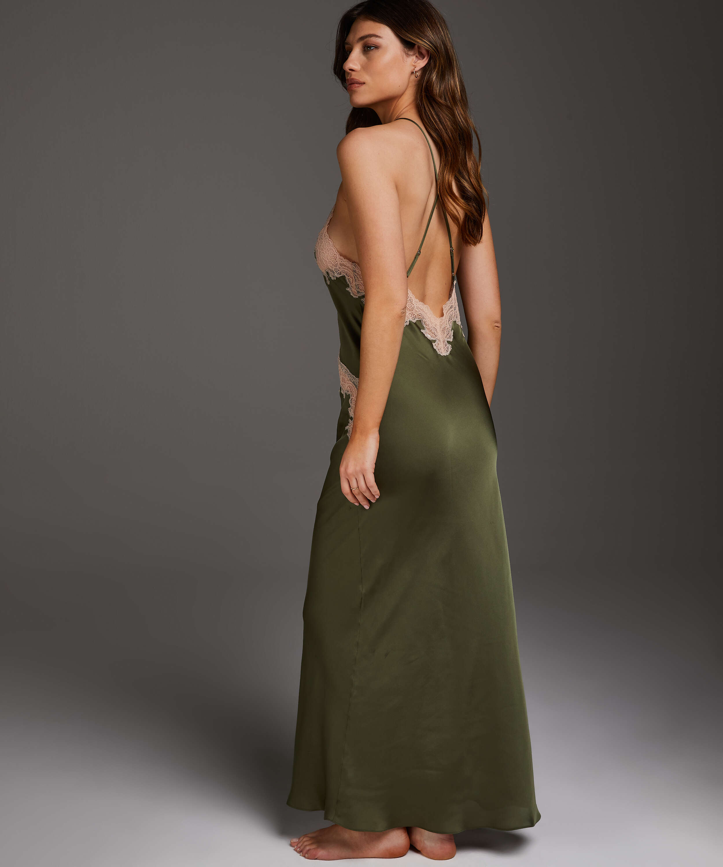 Long Satin Slip Dress, Green, main