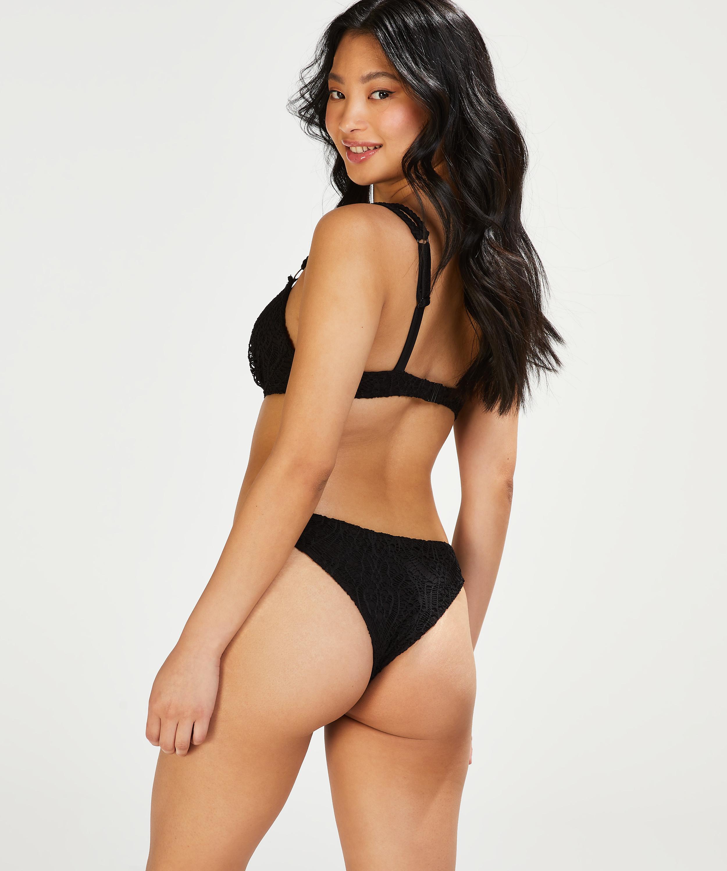 Crochet padded push-up underwired bikini top Cup A - E, Black, main