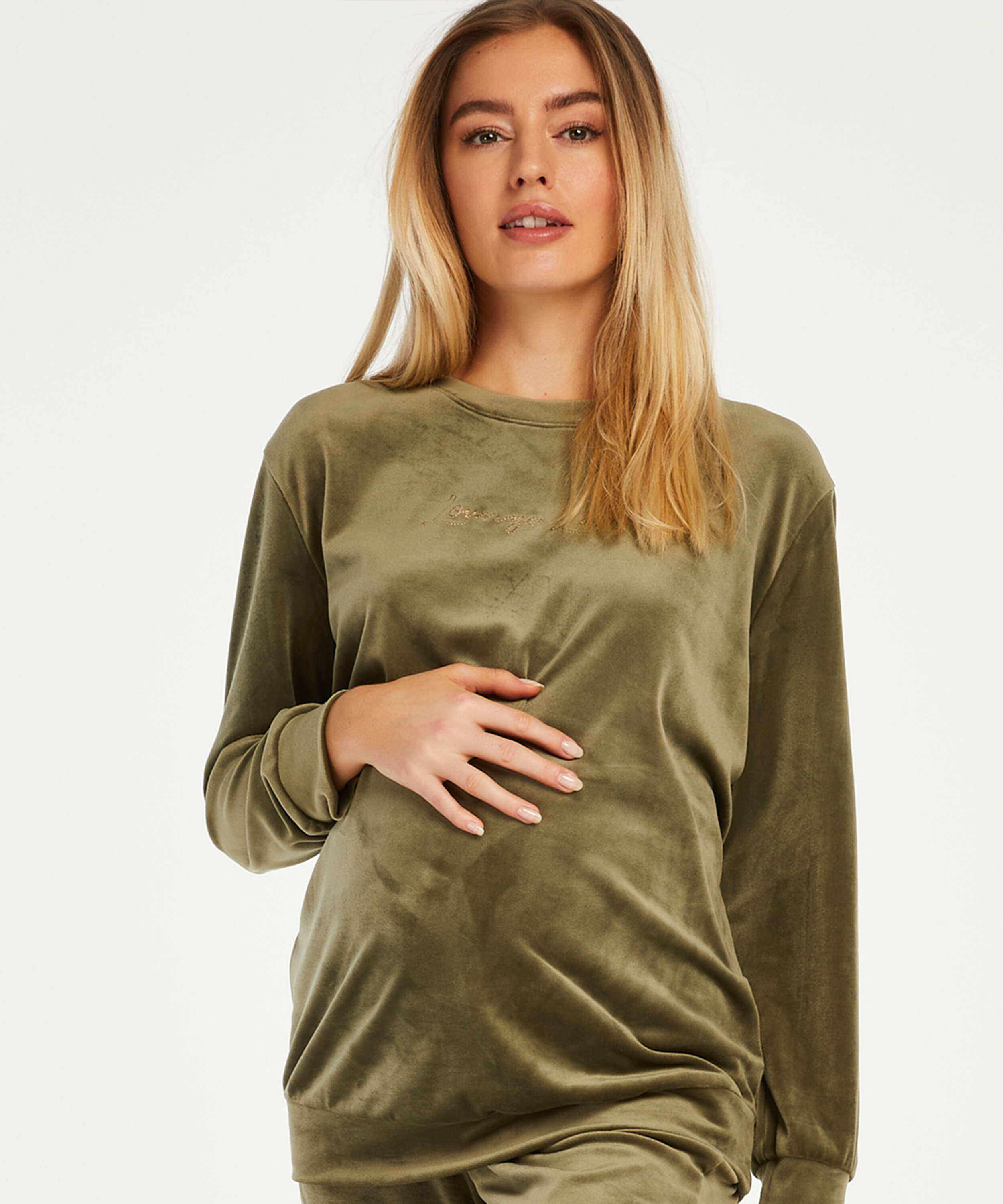 Velvet maternity top, Green, main