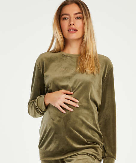 Velvet maternity top, Green