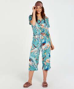 Painted Peacock Long-Sleeved Pyjama Top, Blue