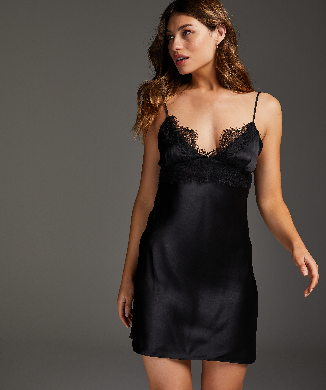 Silk Lace Slip Dress, Black, main