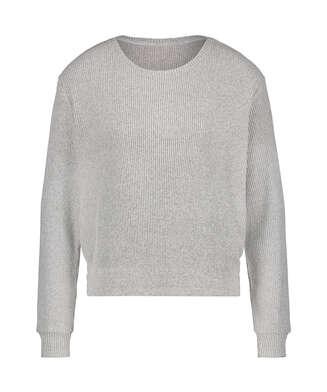Brushed Rib Long-Sleeved Pyjama Top, Grey