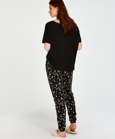 Jersey short sleeve top, Black