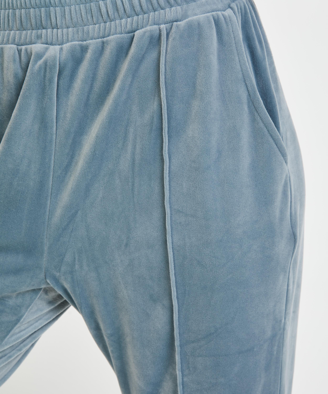 Velour Jogging Pants Pin-tucked, Blue, main