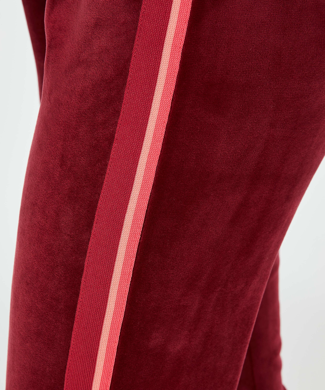 Striped Velvet Jogging Pants , Red, main