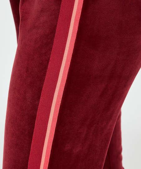 Striped Velvet Jogging Pants , Red