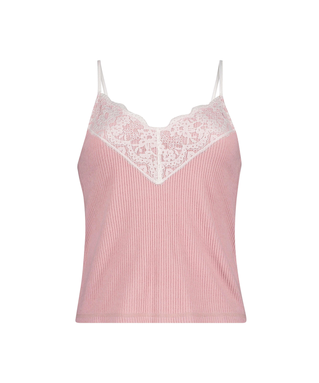 Brushed Rib Lace cami top, Pink, main