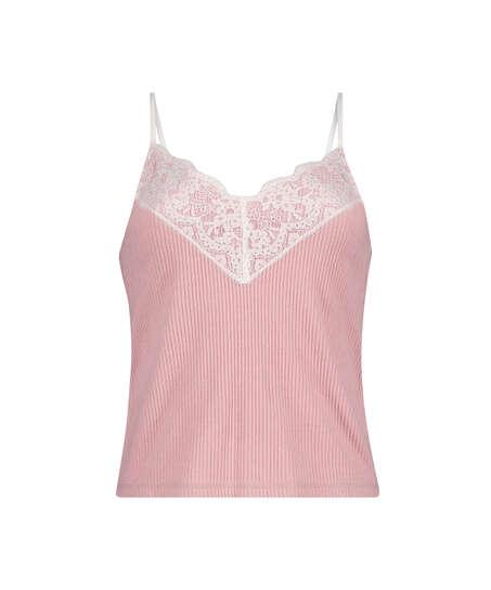 Brushed Rib Lace cami top, Pink
