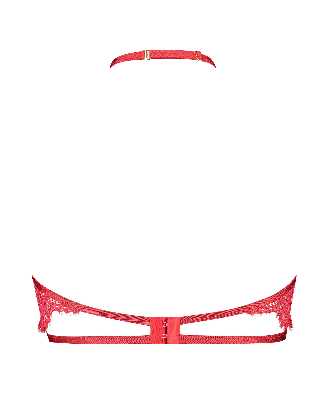 Eve Non-Padded Underwired Bra halter neck, Red, main