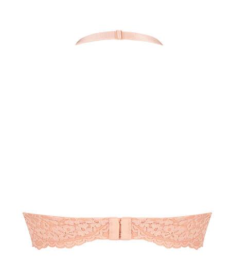 Rose Padded Halter Bralette, Pink