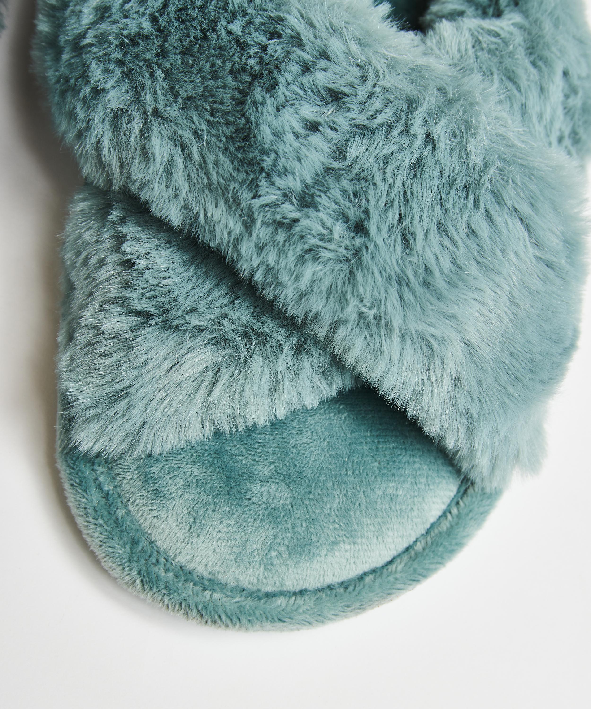 Velour slippers, Green, main