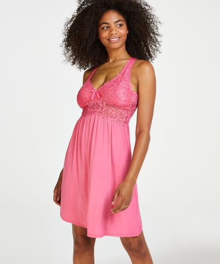 Nora Lace Slip Dress, Pink
