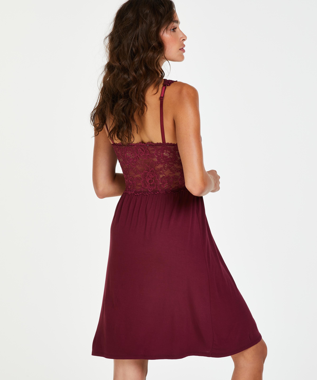Modal Lace Slip Dress, Red, main
