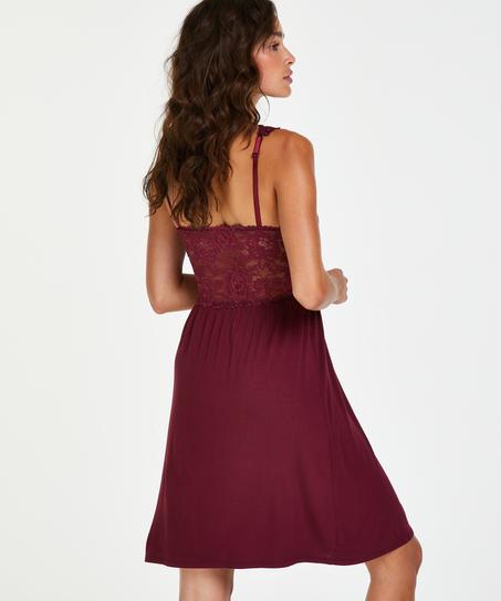 Modal Lace Slip Dress, Red
