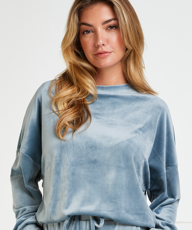 Long-sleeved Velours top, Blue, main