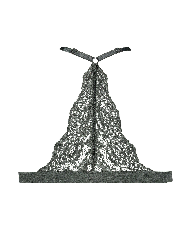 Chloe Cotton Padded Triangle Bralette, Black, main