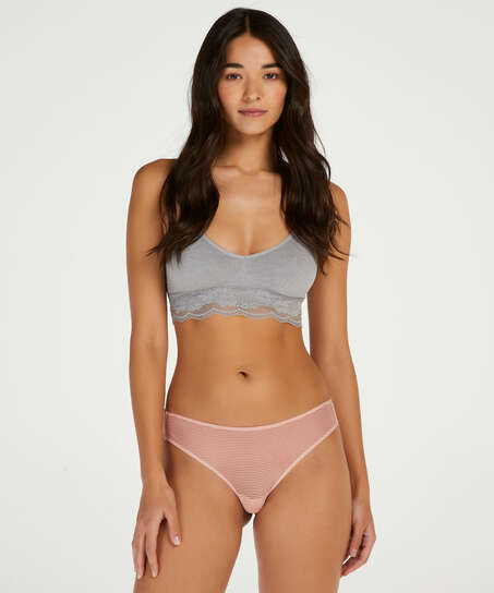 Burned Out Stripe Invisible Thong, Pink