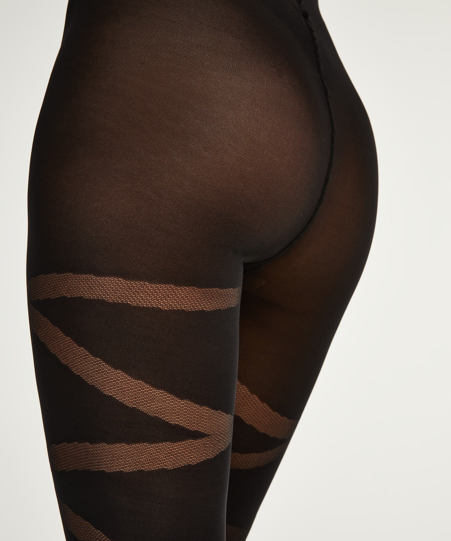 40 Denier Reversed Gladiator tights, Black, main
