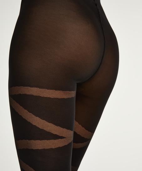 40 Denier Reversed Gladiator tights, Black