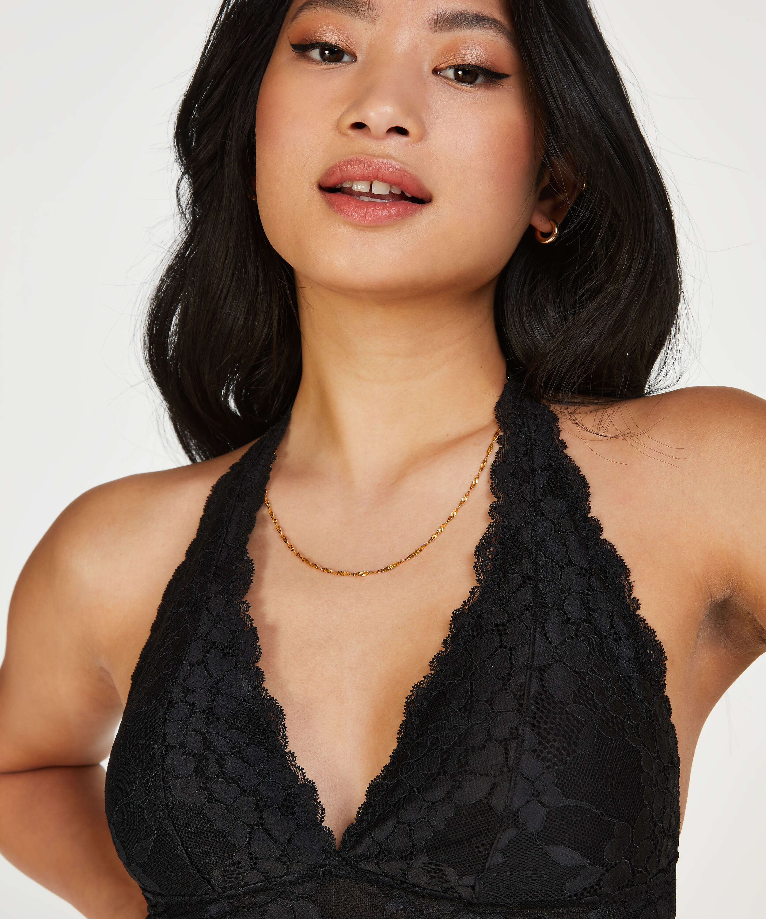 Rosalyn Padded Halter Bralette, Black, main