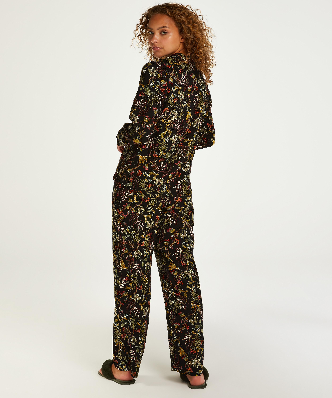 Twill Long-sleeved Pyjama Top, Black, main