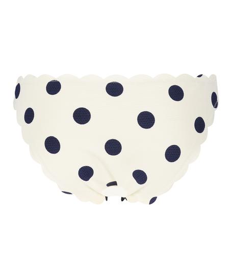 Scallop low waist rio bikini bottom, White