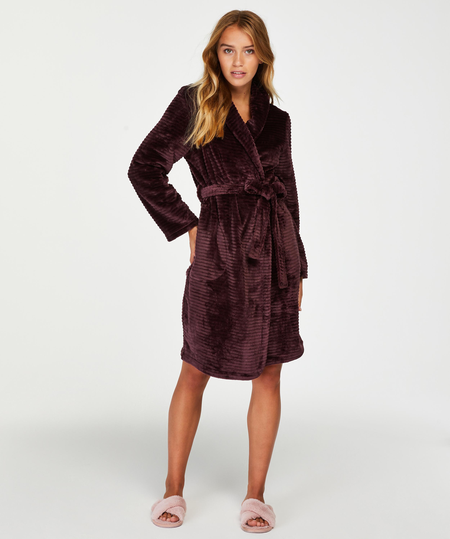 Short Fleece Ribbed Bathrobe, Red, main
