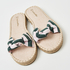 Printed Knot Sandals, Green