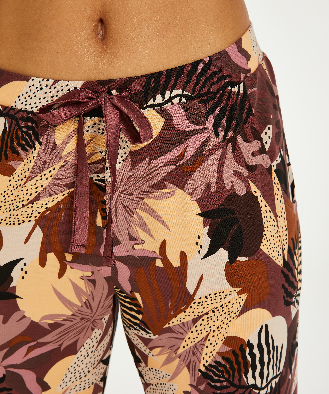 Petite Jersey Abstract Leaf Pyjama Bottoms, Pink, main