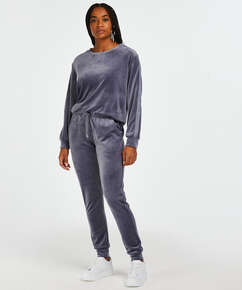 Velour Shimmer Tape Tall jogging bottoms, Grey