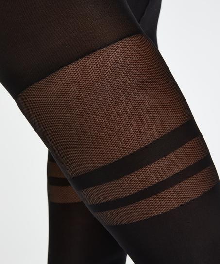 Fishnet Overknee Tights, Black