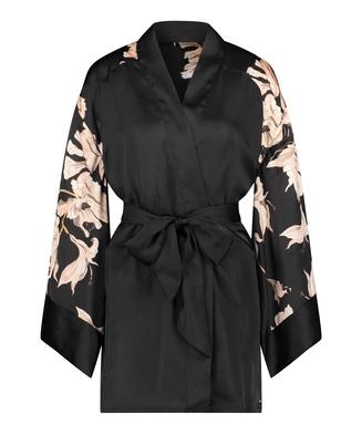 Bloom Satin Kimono, Black
