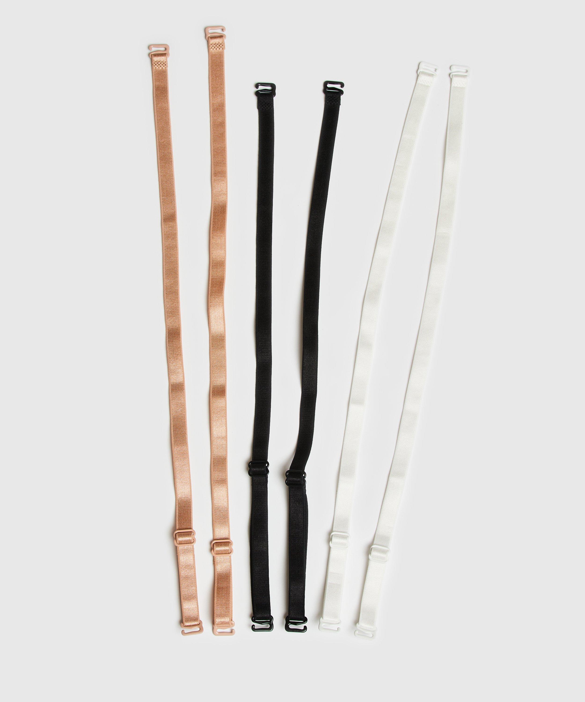 3-Pack Basic Bra Straps, Black, main