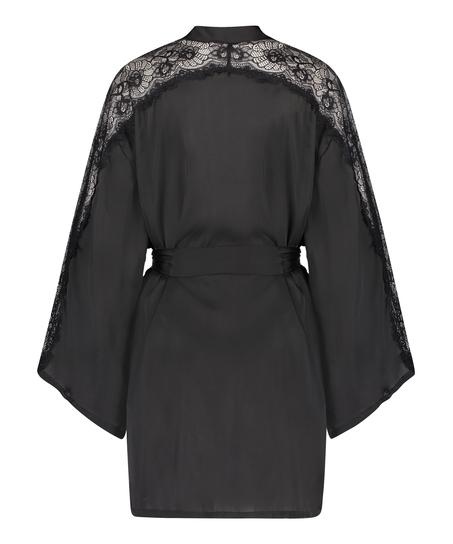 Satin Lace Kimono, Black