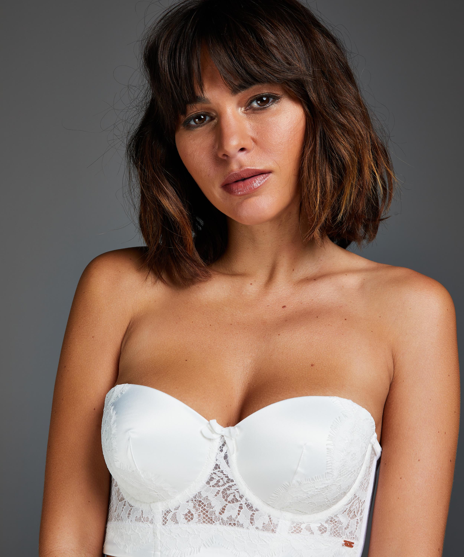 Hannako padded strapless longline underwired bra, White, main