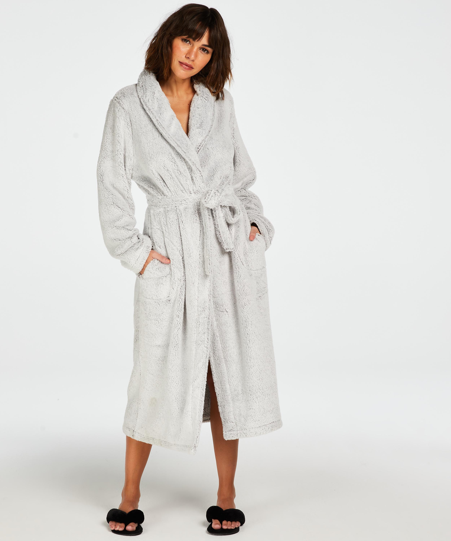 Long Fleece Bathrobe, Grey, main