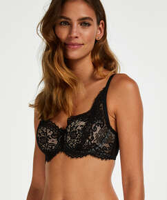 Cardi Padded Half-cup Underwired Bra, Black