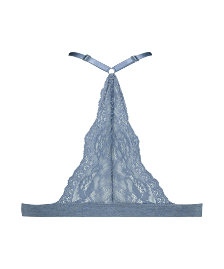 Chloe Cotton Padded Triangle Bralette, Blue