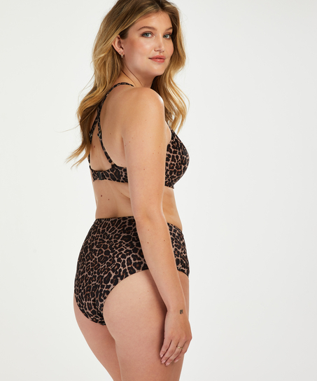 Leopard padded underwired bikini top, Beige