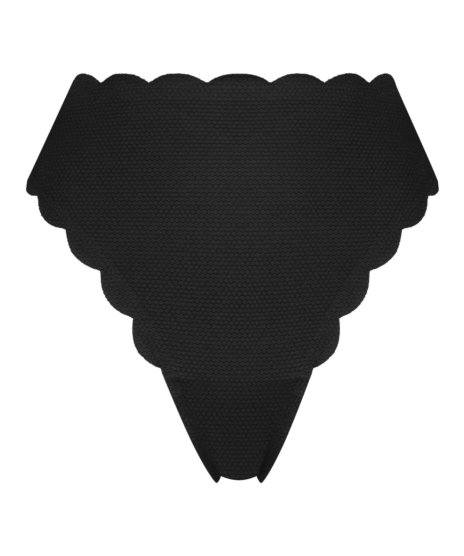 Scallop Glam high-leg bikini bottoms, Black, main
