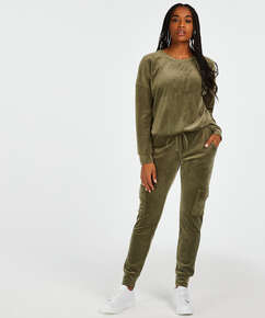 Long-sleeved Velours top, Green