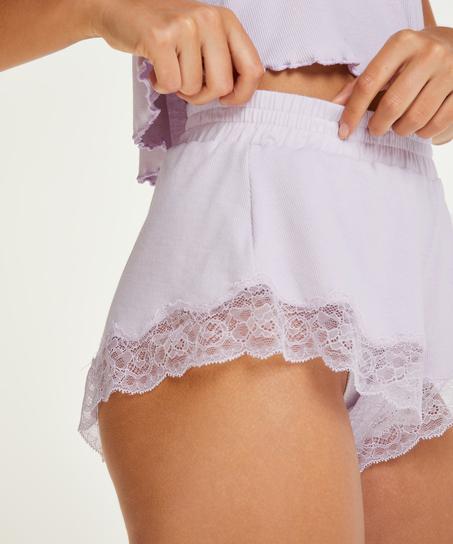 Shorts rib lace Mia, Purple