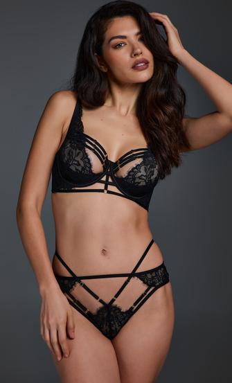 Iggy half padded cup underwired bra, Black