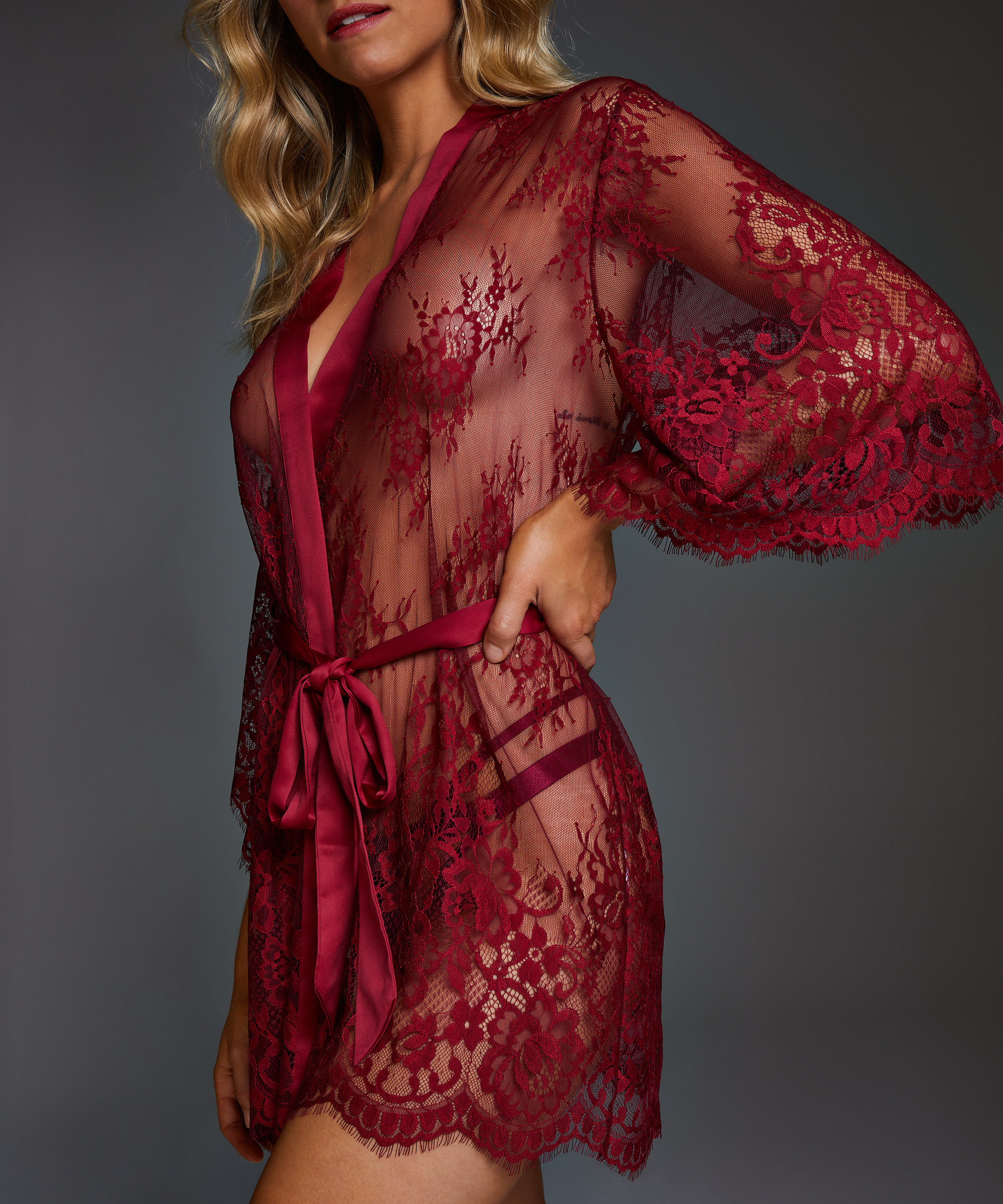 Isabelle Lace Kimono, Red, main